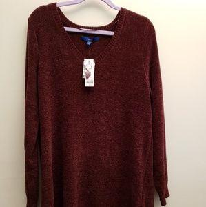 NWT Apt.9 Burgundy Vneck Chenille Sweater XL